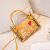 Alphabetic Printed Heart Shiny Zipper Closure Messenger Bags - Yellow