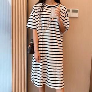 Stripes Printed Loose Wear Short Sleeves Midi Dress - White