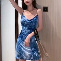 Mesh Pattern Spaghetti Strapped Mini Dress - Blue