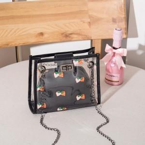 Strawberry Printed Twist Lock Transparent Messenger Bags - Black