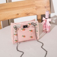 Strawberry Printed Twist Lock Transparent Messenger Bags - Pink