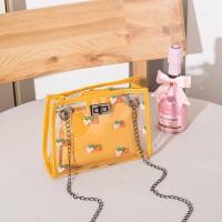 Strawberry Printed Twist Lock Transparent Messenger Bags - Yellow