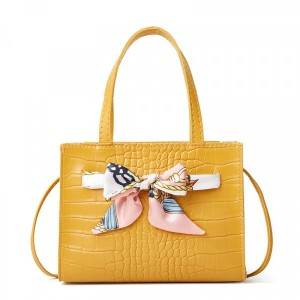 Animal Textured Ribbon Patched Messenger Bags - Yellow