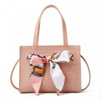 Animal Textured Ribbon Patched Messenger Bags - Pink