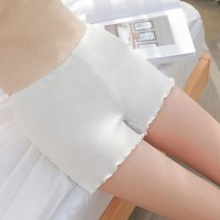 Plain Ruffled Body Fitted Elastic Waist Women Fashion Shorts - White