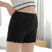 Plain Ruffled Body Fitted Elastic Waist Women Fashion Shorts - Black