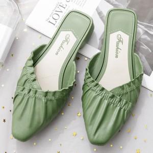 Solid Flat Low Heel Casual Wear Women Slippers - Green