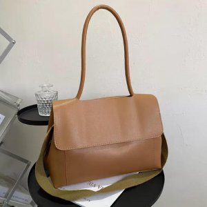 Large Size Square Flap Crossbody Bag - Brown