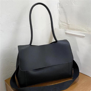 Large Size Square Flap Crossbody Bag - Black