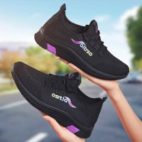 Mesh Breathable Lace Closure Casual Sneakers - Purple