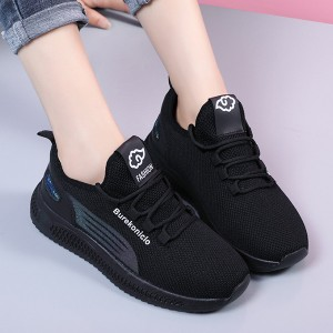Sports Lace Closure Rubber Sole Sneakers - Black