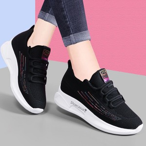 Lace Closure Mesh Canvas Sports Wear Sneakers - Black and White