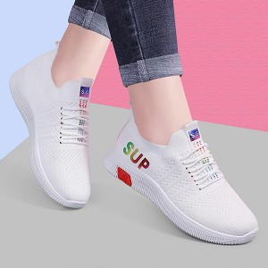 Holographic Contrast Soft Sole Sports Wear Sneakers - White