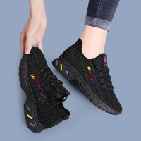 Colorful Letters Printed Mesh Rubber Sole Sports Sneakers - Black
