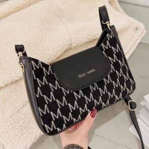 Designer Inspired Fashion Women Crossbody Messenger Bag - Black