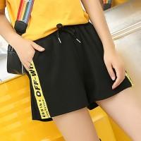 String Waist Stripes Contrast Sports Wear Mini Shorts - Black Yellow