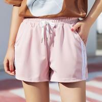 String Waist Stripes Contrast Sports Wear Mini Shorts - Pink