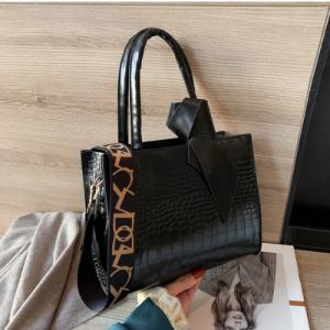 Medium Size Square Elegant Crossbody Bag - Black