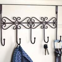 Stainless Steel Heavy Duty Over The Door 5 Hooks Clothes Hanger - Black