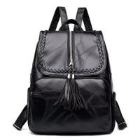 Large Size Leather Backpack Fashion Tassel Design - Black