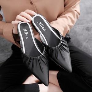 Women Casual Flat Low Heels Pointed Toe Ladies Slippers - Black