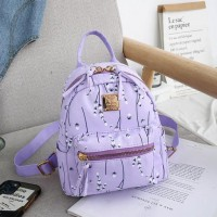 Floral Design Small Size Woman Travel And School Backpack - Purple