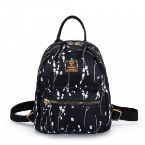 Floral Design Small Size Woman Travel And School Backpack - Black