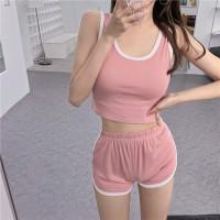 Low Vest Casual Wear Women Sports Two Piece Suit - Pink
