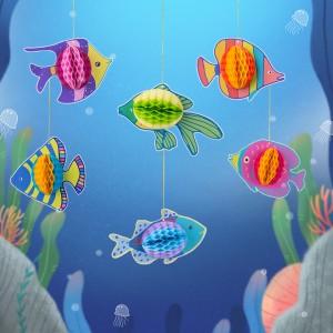 6 Piece Tropical Fish Honeycomb Decoration Set - Multi Color