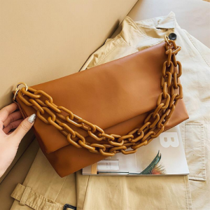 Large Size Fold Over Bag With Chain Fashion Ladies  - Brown