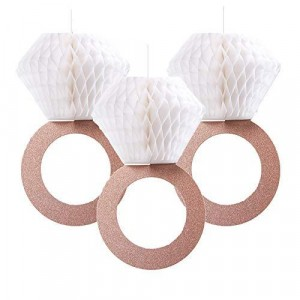 5 Pieces Party Decoration Honeycomb Hanging Floral Rings  - White