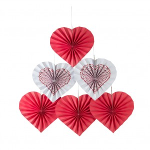 6 Pieces Wedding Valentine Day Party Heart Paper Flower Fan - White Red