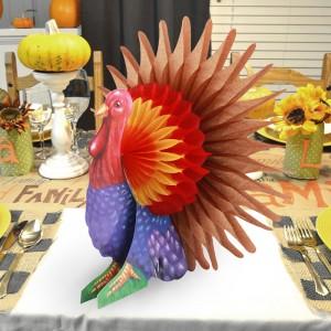 Home Party Turkey Decoration Honeycomb Bird - Multi Color