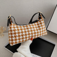 Small Size Fashion Shoulder Messenger Bag - Brown With Checkered Design
