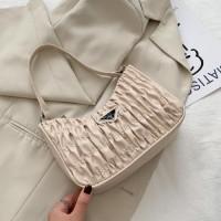 Small Size Fashion Pleated Shoulder Messenger Bag - Beige