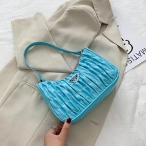 Small Size Fashion Pleated Shoulder Messenger Bag - Blue