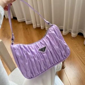 Small Size Fashion Pleated Shoulder Messenger Bag - Purple