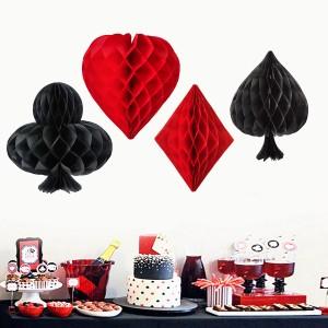 4 Pieces Set Gambling Series Decoration Honeycomb Balls - Black Red