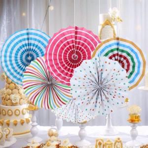 6 Pieces Home Party Articles Folding Decorative Set - Multicolor