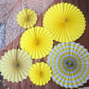 6 Pieces Home Party Articles Folding Decorative Set - Yellow