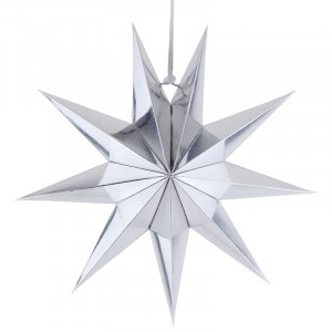 Nine Pointed Paper Star Home Party Decoration - Silver