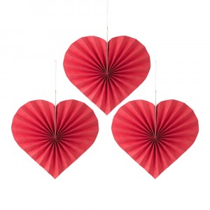 3 Pieces Home Party Decorations Folding Heart Paper - Red