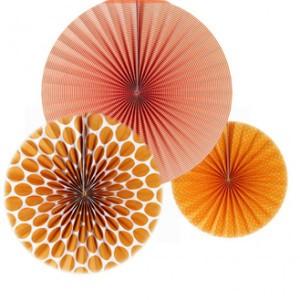 3 Pieces Home Party Decoration Flower Paper - Orange