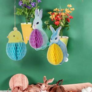 3 Pieces Animals Cartoon Rabbit Honeycomb Paper Decoration - Multi Color