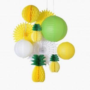 10 Pieces Pineapple Flamingo Design Party Decorative Set - Multi Color