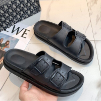 Buckle Closure Solid Plastic Soft Sole Sandals - Black