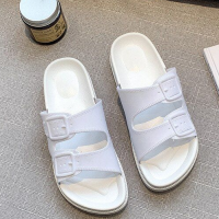 Buckle Solid Plastic Soft Sole Slippers - White