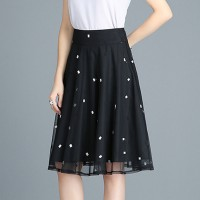 Floral Printed Thin Fabric Women Fashion Elegant Wear Skirt - Black