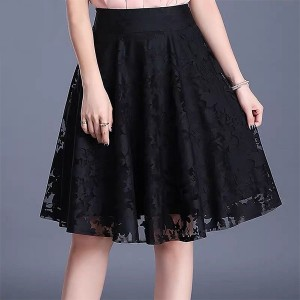 Lace Textured Women Fashion A-Line Mini Skirt - Black