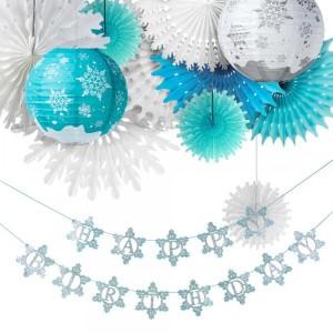 12 Piece Blue Snow Them Birthday Decoration Set - Multicolor